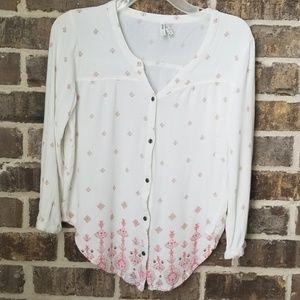Mudd Button Down Delicate Print Shirt